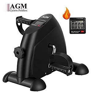 AGM Mini Cyclette da Casa, Pedaliera Cyclette Fitness per Braccia e Gambe Pedaliera Regolabile Digitale Mani e Piedi Pedale con LCD Display