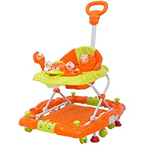Baybee Cheezy Baby Walker Cum Rocker - Round Kids Walker for Babies Cycle with Music & Light Rattles and Toys Ultra Soft Seat, Push Bar Activity Walker for Kid and Wheel 6 Months to 2 Years (Orange)