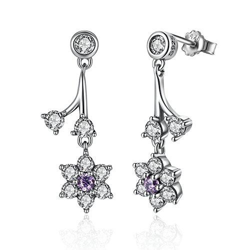 Lily jewelry non ti scordar di me, viola e chiaro cz orecchini pendenti in argento sterling 925