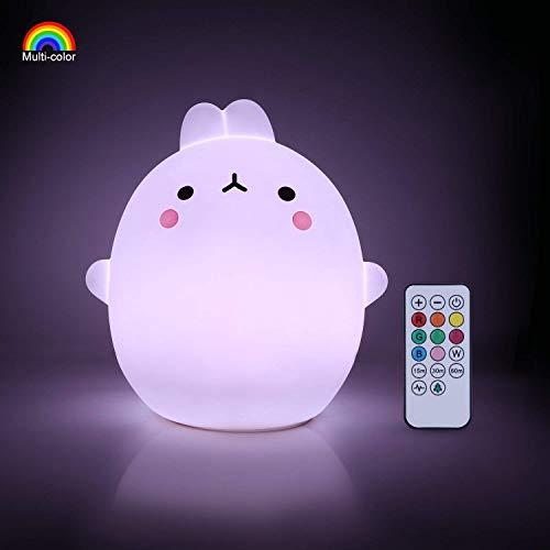 YISSVIC Luz Nocturna Bebé Lámpara Infantil Silicona Multicolor Remoto Recargable Regalo para los Niños Bebés [Luz de 9 Colores]