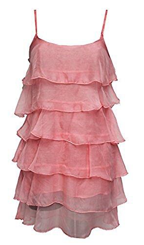 Robe D'été à Volants en Soie et Coton- Taille Unique (36/40) Rose