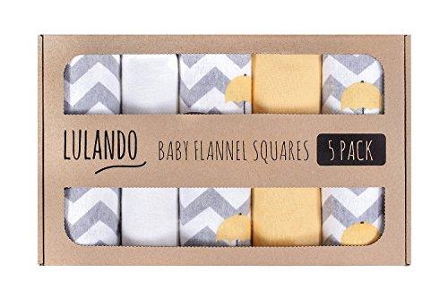 LULANDO Stoffwindeln und Moltontücher 70x80cm (5er Set). Waschbare Windeln und Spucktücher für Ihr Baby, Farbe: Elefanten gelb/weiß