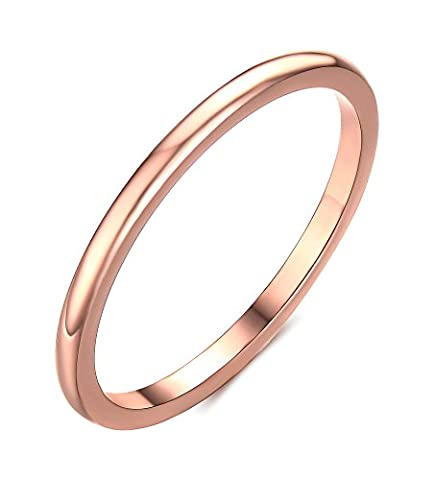 Vnox Women's Girls Stainless Steel 18K Rose Gold Thin Simple Ring Wedding Engagement Band 1.5mm Width UK Size N 1/2