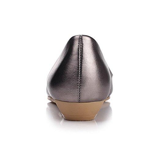 AllhqFashion Femme Pointu Tire Pu Cuir Couleur Unie à Talon Bas Chaussures Légeres Gris