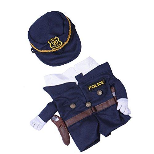 MagiDeal Stoff Haustier Hundemantel Hunde Bekleidung Mit Hut , Polizei Kostüm , Größe Auswahl - - Polizei Hunde Haustier Kostüm