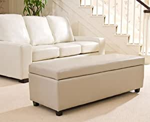 Sofa Collection Brand New Avignon Ottoman Sofa in Bonded Leather, Leather, Cream, X-Large, 45 x 120 x 43 cm