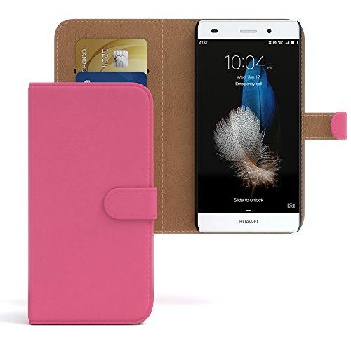 Huawei P8 Lite (2015) Hülle - EAZY CASE Premium Flip Case Handyhülle - Schutzhülle in Braun Pink (Book)