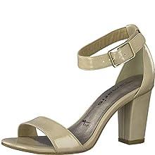 Tamaris Donna Sandali 28018-24, Signora Sandali, Sandali,Scarpe Estate,Scarpe Tacco Aperto,Tacco Alto,Femminile,Nude Patent,37 EU / 4 UK