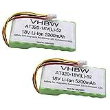 vhbw 2X Batteria per tagliaerba Compatibile con Husqvarna Automower 320, 330x (Sono necessarie Due batterie), 420, 430X 2016 (5200mAh, 18V, Li-Ion)