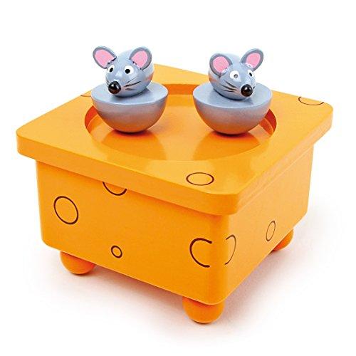 """Spieluhr """"Tanzmäuse""""  aus Holz, mit abnehmbaren Magnet-Figuren, tanzende Mäuse und eine schöne Melodie verzaubern Babys und Kinder, in farbenfroher, lustiger Gestaltung ein ansprechendes Design für Babys und Kinder"""