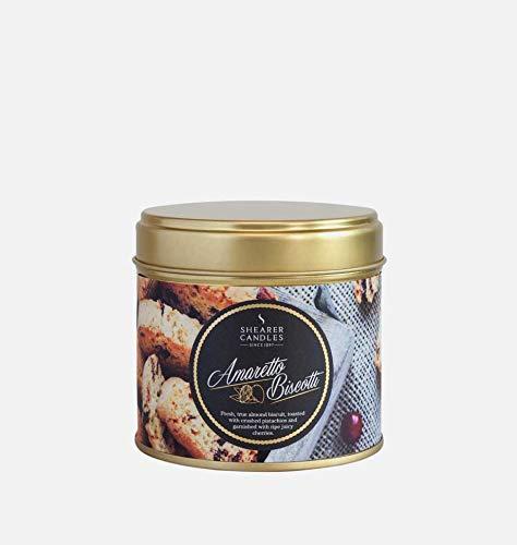Shearer Candles Amaretto Biscotti Duftkerze in Dose, Baumwolldocht, Duft und ätherische Öle, Gold und Weiß, groß
