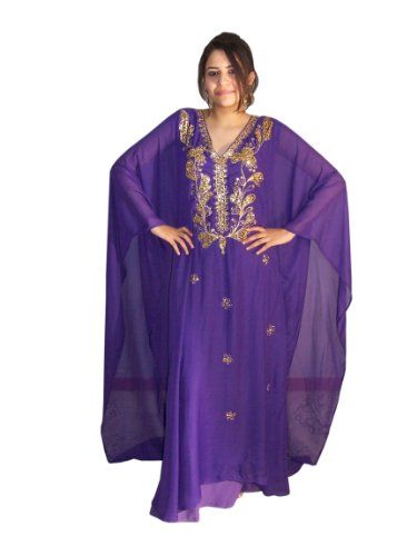 Abaya Festkleid aus Chiffon, Einheitsgröße: M bis XXXL, in verschiedenen Farben (Lila/gold)