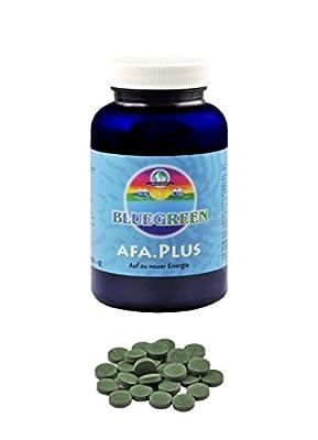 Bluegreen AFA Plus Algen Tabletten Protein • Vitamin B12 • Chrom - Als einzige Alge hat sie die Qualitaeten einer Wildpflanze - Auf zu neuer Energie - Die praktische Familiendose mit 90g, ca. 360 Presslinge à 250mg Leben Sie auf!