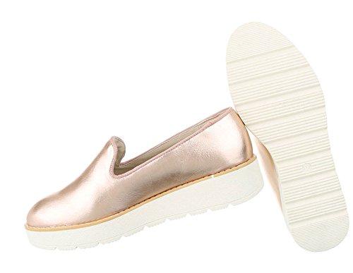 Damen Halbschuhe Schuhe Slipper Loafer Mokassins Flats Slip On Schwarz Pink Silber Weiß 36 37 38 39 40 41 Rosa