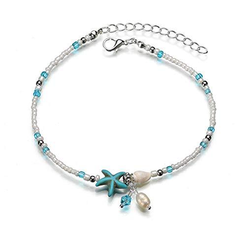 JoyRolly Silber fußkette 925 Damen fußkette Indische Fußkettchen Perlen Knöchel Armband Sandale Fußkette Seestern Fußkette Fußkette der Sterne Silber Fußkette