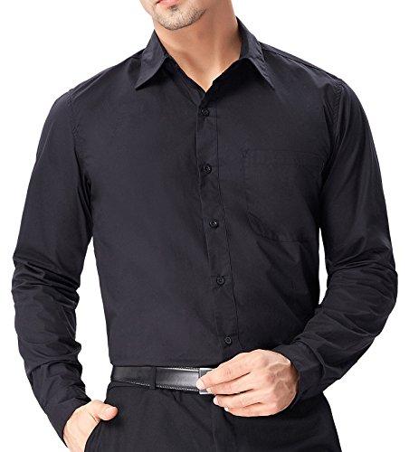 Paul Jones Herren Hemd Langarm Slim Fit Business Hemd Freizeit Hemd PJ0051 PJ55(Schwarz)
