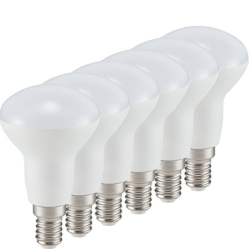 Müller Licht 6er-Set LED Reflektor R50, vielfältig einsetzbar in zahlreichen Wohnbereichen, 6W ersetzt 40W, E14, 430 lm, 2700K, matt