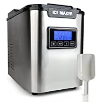 NutriChef Digital Ice Maker , Stainless Steel 3 Size Ice Cube Option, Ice Tray Full Indicator - Ice Shovel Hand Scoop Included ,Water Capacity: 2.2L (PICEM62)