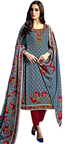 Rosaniya Un-Stitched Self Digital Printed Spun Wool Salwar Suit for Women Spun Wool Digital Printed Shawl and woolen bottom, dress material for womens, Winter wear (AIS16209_Free Size_Grey)