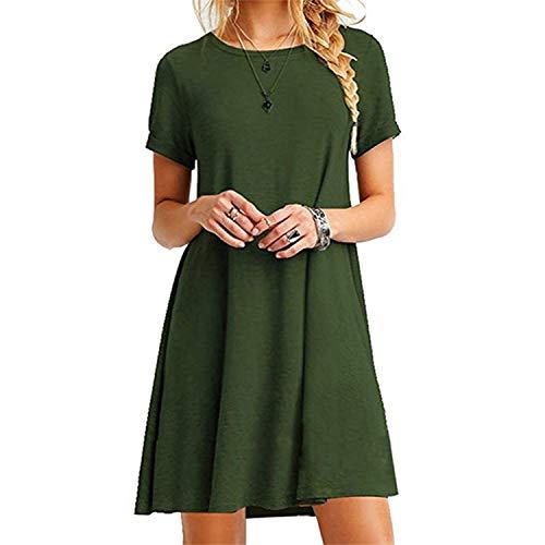 UPhitnis T Shirt Kleid Damen Shirtkleider Rundhals Kurzarm Sommerkleid Casual Lose Kleid Große Größe XS-3XL (ohne Zubehör)