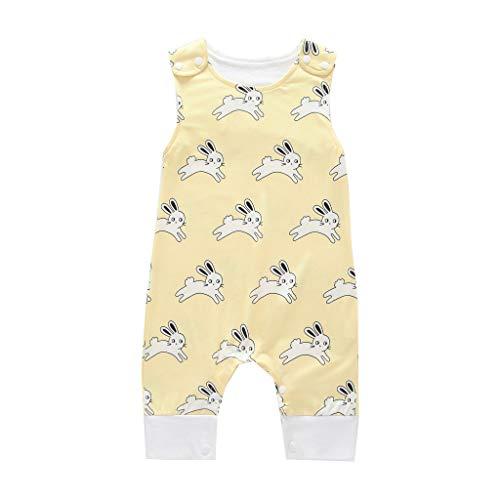 (Fenverk Kinder Pyjamas Kleidung Jungen Kaninchen-Print Kleinkind Pjs NachtwäSche Bekleidung Ostern KostüM Schlafanzug Car Herbst Overall Pyjama 3-24 Monate(Gelb,3-6 Monate))