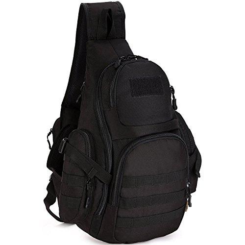 Herren Bodybag großer Sport Brusttasche Bauchtasche Unwucht Rucksack Schultertasche Reisetasche für Reise Camping Hiking 3D verschiedene Farben,Dunkelbraun Schwarz