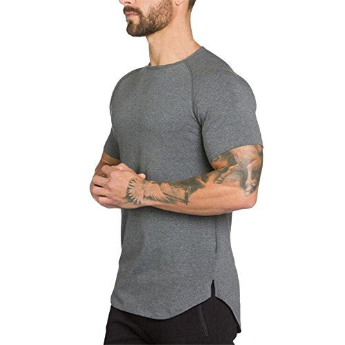 Viawhyt Herren Kurze Ärmel Fitness T-Shirt Top Bluse Manner Fitnessgeräte Crossfit Bodybuilding Fitness Muskel Fitness Gym & Training Kleidung (Grau, XL)
