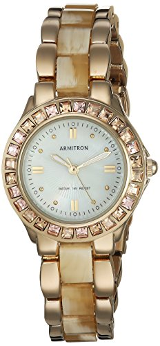 Armitron Women's 75/3689CMGPHN Swarovski Crystal Accented Gold-Tone Horn Bracelet Watch