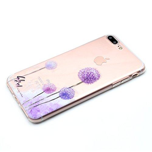 iPhone 7 Plus Hülle,iPhone 7 Plus Case,iPhone 7 PlusSilikon Cover Felfy Ultra Dünne Slim Full Body Soft Gel TPU Silikone Case Schöne Bunte Muster Design Case Rückschale Schutz Anti Scratch Tasche de p Löwenzahn Hülle