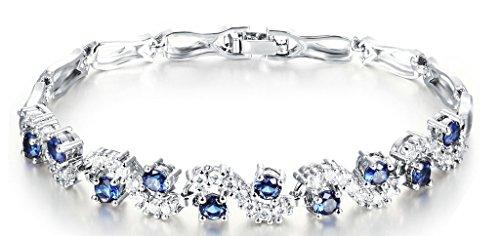 18K Placcato Oro Bracciale Charms da Donna Ragazze, Swarovski Elements, Intarsiato Bianco Blau Cristallo Zaffiro – Adisaer