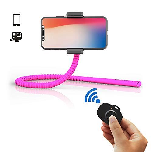ZBAM GekkoStick flexibler Selfie Stick und Halterung inkl. Bluetooth Auslöser, pink