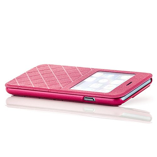 Saxonia Tasche + Panzerglas Apple iPhone 6 / 6S Hülle Case Flip View Cover Edle Schutzhülle mit Fenster Pink Pink + Glas