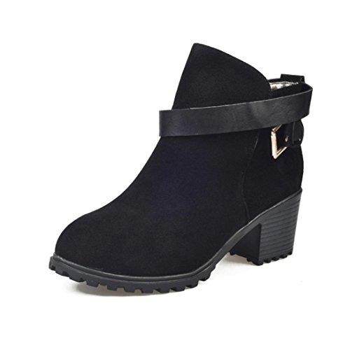 martin-bottes-chaussures-overdose-femmes-hiver-neige-dames-bas-talon-ceinture-boucle-35-noir