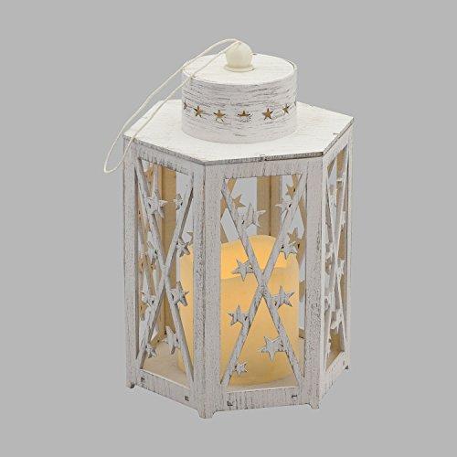 Farolillo de madera blanco con vela LED, 22 cm, luz cálida, luces ambiente a pilas, decoraciones luminosas