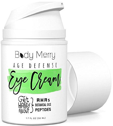 Body Merry Age Defense Eye Cream - Crema antiage idratante, per occhiaie/borse, con più di 50 ingredienti come acido ialuronico/oli naturali e biologici/acido glicolico, per prevenire rughe/linee
