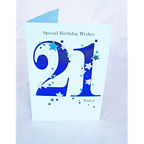 21st birthday cards for him amazon happy 21st birthday card for him boys mens male blue verse poem luxury card bookmarktalkfo Gallery