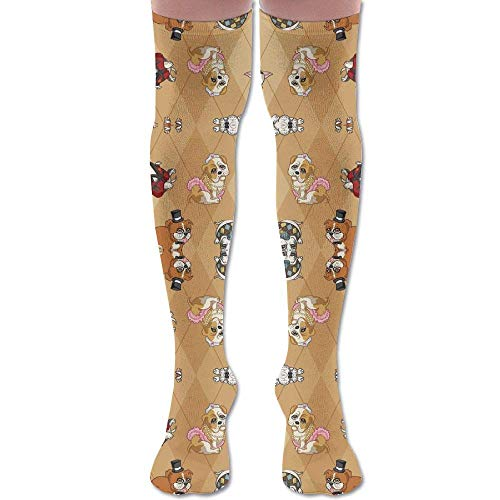 apnzll Fancy English Bulldogs (Tan) Wallpaper (5903) Knee High Graduated Compression Socks for Unisex - Best Medical, Nursing 50CM