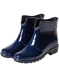 9df2b7242dd552 HooH Damen Wasserdichte Regenstiefel Anti Rutsch Niedriger Absatz kurzer  Knöchel Gummi Booties