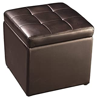FDS Faux Leather Folding Ottoman Pouffe Storage Single Seat Toy Box Foot Stool (2 colours) (Brown)
