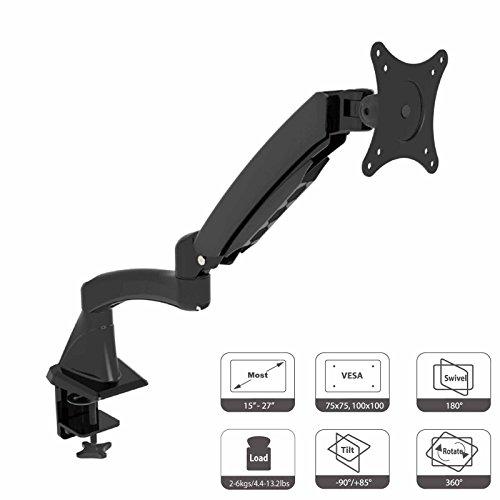 HFTEK ® DS112F Monitor Standfuß Halterung Halter Tischhalterung Stand für TFT LED LCD Bildschirm Monitor 15 - 27 Zoll mit VESA 75 / 100 (DS112F Schwarz)