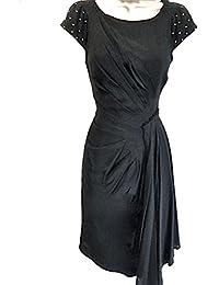 fcb02ef88511 Karen Millen Black Studded Crepe Draped Dress Size 8 UK