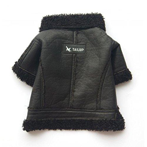 Lederjacke, Mode Reißverschluss Welpen Mantel Warme Winterjacken Haustier Kleidung für Herbst und Winter (L, Schwarz) (Batman Kostüm Weiblich)