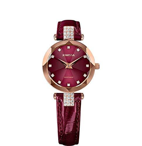 Jowissa Facet Strass Swiss J5.624.S - Reloj de Pulsera para Mujer, Color Burdeos y Rosa