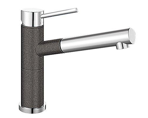 Blanco Alta-S Compact Küchenarmatur / Kompakter Einhebelmischer Silgranit-Look in Anthrazit-Chrom mit ausziehbarer Schlauchbrause / Hochdruck