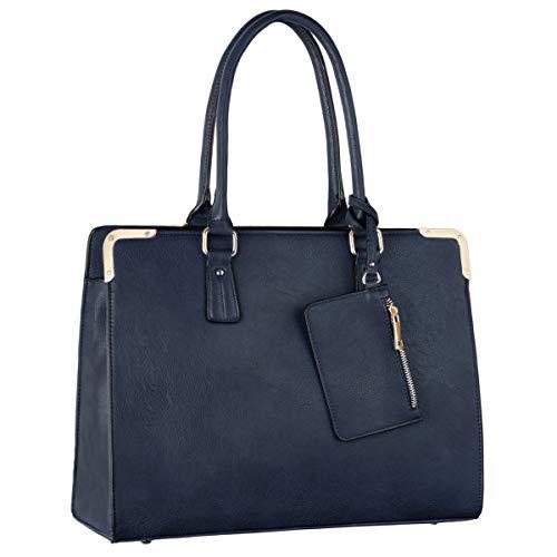 Luxus Aktentasche Aus Leder (CRAZYCHIC - Damen Tote Handtasche - Large Shopper Bag PU Leder - Arbeit Schule Aktentasche Businesstasche - Umhängetasche Schultertasche Elegante - Messenger Bag Crossbody Tasche - Blau)