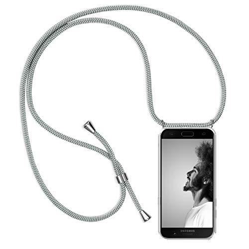 Zhinkarts Handykette kompatibel mit Samsung Galaxy A5 2017 (A520) - Smartphone Necklace Hülle mit Band - Schnur mit Case zum umhängen in Weiß - Silber