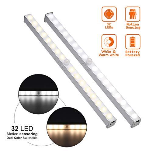 Elfeland LED Nachtlicht mit Bewegungsmelder 32 LED Dimmbar Sensor Schrankleuchte mit Magnetstreifen Batteriebetriebene Lichtleiste mit 2 Farbwechsel (Weiß/Warmweiß) für Schlafzimmer Schrank Schubfach