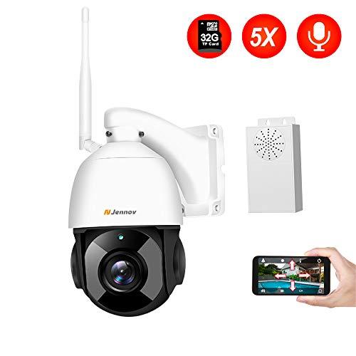 PTZ IP Kamera Outdoor, Jennov HD 1080P WLAN Überwachungskamera 5X Optischer Zoom CCTV Zwei-Wege-Audio IP66Waterproof Bewegungsmelder Unterstützung von 64GB SD Karten