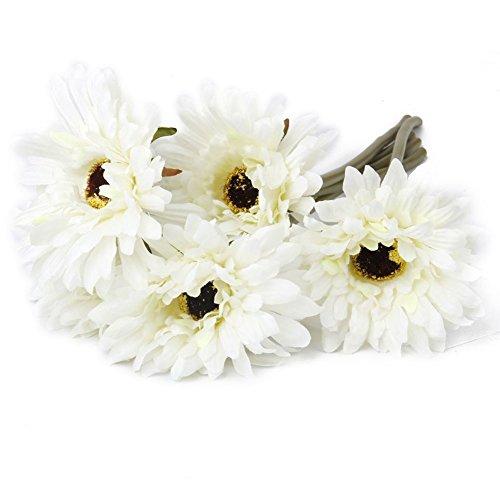 YSBER 1* 10pcs Gerbera artificiale fiori finti Fiori Matrimonio Bouquet Decorazione tavolo da giardino, Bouquet White