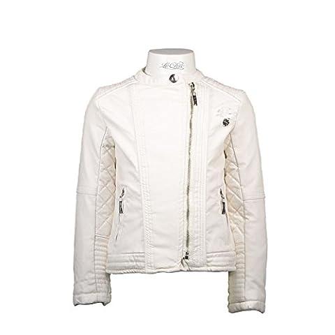 LE CHIC Mädchen Kunst Lederjacke Bikerjacke Jacke white weiß 140 152 164 UVP 89,90 (140)